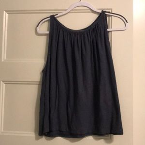 Ruched neckline Madewell blue cotton tank top